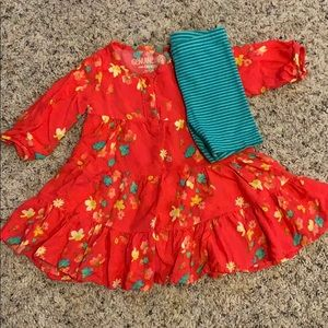 Dark coral floral dress with bike shorts